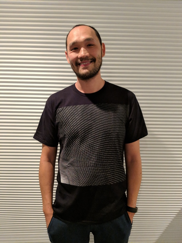 Ballio wearing his computational art shirt.