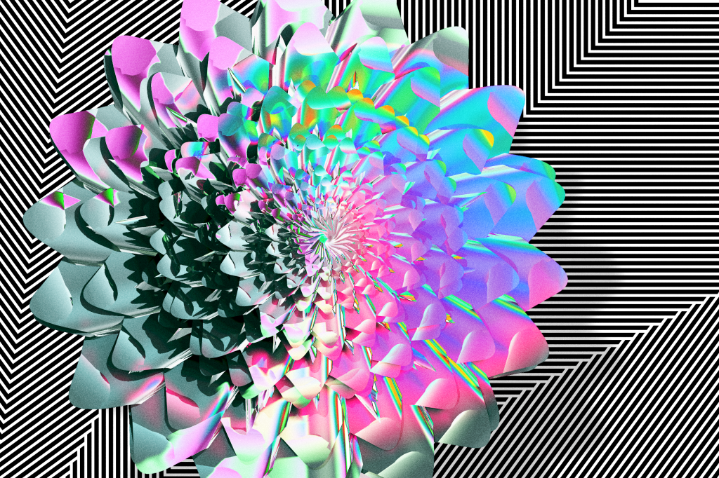 Spring flower -- An artwork collage of 3D + computational art